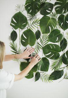 diy floral leaf backdrop