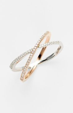 Bony Levy 'Crossover' Diamond Stack Ring | Nordstrom