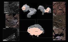 Six exemples de détection de glace à la surface de Churyumov-Gerasimenko. Crédit : ESA/Rosetta/MPS for OSIRIS Team MPS/UPD/LAM/IAA/SSO/INTA/UPM/DASP/IDA
