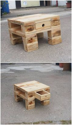 This wooden pallet project is about the small in size table with drawer. This table is much small in size and light in weight which you can favor to place in any corner of your living room. It do accompany a small drawer section in it as well.