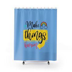 Inspirational Shower Curtains - Blue. by MbiziHome on Etsy Pet Urine, Shower Curtains, Inspirational, Shit Happens, Bathroom, Blue, Etsy, Decor, Washroom
