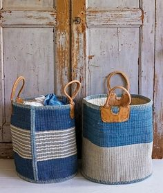 These sisal storage baskets make us think of nautical themes in their colours and the use of rope and leather. Practical and stylish, they breath fresh air into fresh laundry as you put your new spring wardrobe away after a wash! Rope Basket, Basket Bag, Basket Weaving, Woven Baskets, Woven Bags, Seagrass Baskets, Painted Baskets, Bamboo Basket, Storage Baskets