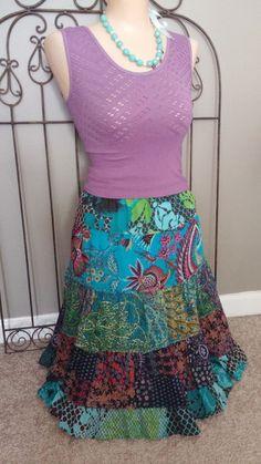 energie Peasant Hobo Tiered Cotton Skirt Tiered Below The Knee Turquoise Sz M #energie #PeasantBohoALine