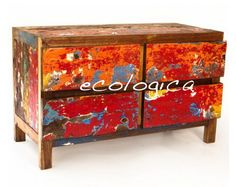 This playful furniture of four drawers would be equally at home in a bedroom as in a living room. It's the perfect size for a smaller space, and the tropical wood is enriched with juicy colors. You'll be doing the environment a favor too. This eco-friendly piece is upcycled from reclaimed wood, so it's not only beautiful, but it has a rich history. Price $800.00