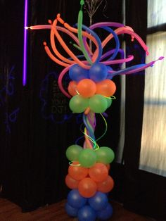 Neon Balloon column.  #balloon-column #balloon-decor