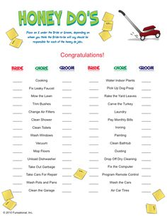 Honey Do's  Who will the Bride-to-be say is responsible for cleaning toilets once the happy couple merges? Who will the Groom-to-be say that chore belongs to? Find out in this hysterical game as you try and guess how the Bride-to-be 'delegates' chores. This game is great for Couples Showers as well.