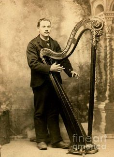 Cabinet card photograph of  Victorian Harpist at St. Louis, Missouri 1885. Saettele Studio. Antique pedestal harp photograph. Peter Gumaer Ogden Collection