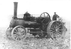 Photograph, steam engine driven by Jack Sherman, plouging fields, Lower House farm, East Everleigh, Wilshire, c.1930