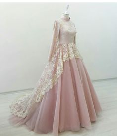 2016 Long Sleeve Wedding Dress Vestido De Noiva Pink Wedding Gowns Lace Appliques High Neck Ball Gown For Bride Muslimah Wedding Dress, Muslim Wedding Dresses, Muslim Dress, Wedding Dress Styles, Bridal Dresses, Wedding Abaya, Pink Wedding Gowns, Princess Wedding Dresses, Ivory Wedding