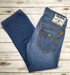 c23375836 Mens True Religion Jeans Straight Leg Flap Pocket Thick Stitch Jean 31 X  29.5  TrueReligion