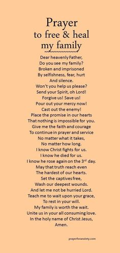Prayer to free and heal my family