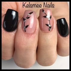 Black nails and Nude nails with handpainted flowers