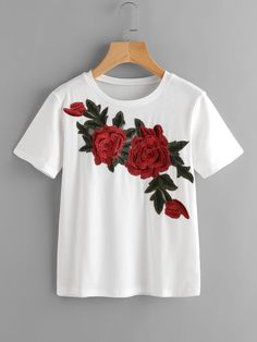 Casual Embroidery and Appliques Regular Fit Round Neck Short Sleeve White Rose Embroidered Applique Tee T-shirt Broderie, White Tee Shirts, Rose Shirts, Shirt Embroidery, Rose Embroidery, Embroidered Clothes, Work Wardrobe, Diy Clothes, T Shirt