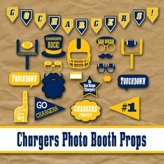 Printable San Diego Chargers Photo Booth Props by OldMarketCorner, $5.00