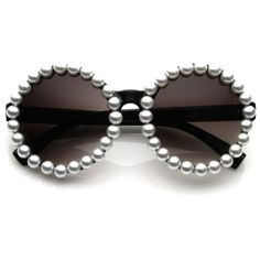 Extravagant Designer Womens Pearl Round Fashion Sunglasses 8527 ($13) ❤ liked on Polyvore