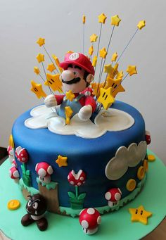 Delicious marshmallow fondant cakes - Celebrat : Home of Celebration, Events to Celebrate, Wishes, Gifts ideas and more ! Super Mario Party, Super Mario Birthday, Mario Birthday Party, Birthday Ideas, Bolo Do Mario, Bolo Super Mario, Super Mario Bros, Crazy Cakes, Fondant Cakes