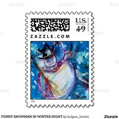FUNNY SNOWMAN IN WINTER NIGHT POSTAGE