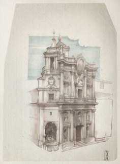 San Carlo alle Quattro Fontane. Roma. Borromini. #drawing  #pencil #pantone #watercolor #design #stairs #architecture #roma #moleskine #disegno #sketch #dolcevita #church #chiesa #illustration