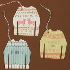 Free printable ugly sweater gift tags at Love Vs Design. (Though we've seen uglier!)