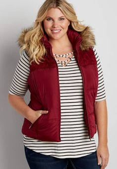 plus size puffer vest with cable knit yoke | maurices