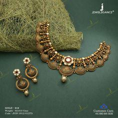 Jadtar Necklace Set jewellery for Women by jewelegance. ✔ Certified Hallmark Premium Gold Jewellery At Best Price Antique Jewellery Designs, Antique Jewelry, Antique Necklace, Jewelry Design Earrings, Necklace Designs, Indian Wedding Jewelry, Indian Jewelry, Indian Bridal, Bridal Jewelry