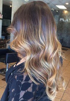 Meche blonde et caramel sur cheveux châtain                                                                                                                                                                                 Plus