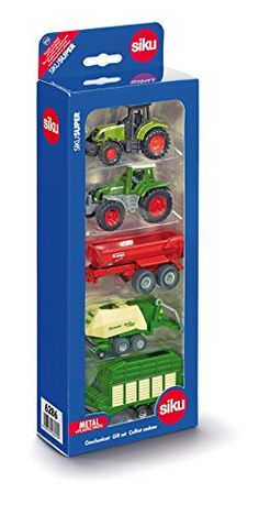 #PopularKidsToys Just Added In Store! 6286 - 5ER GESCHENKSET 7 SORTI - [gallery]  Set of Siku (6286) 5 Agriculture Vehicles Gift Set in 1/72 scale, consisting of 2 tractors and 3 trailers to complete the set. They modeld are made from die-cast with plastic parts, free-rolling wheels and interactive bits and pieces.Get the farmyard up and running in one go with this toy tractor set that includes a Fendt Favorite and Claas tractor, with a Krampe trailer, Krone big baler and hay