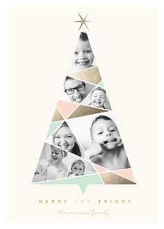 a multi photo collage arranged within the shape of a christmas tree