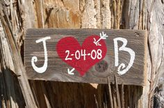 Wedding Sign Recycled Wood Customized Present His Her Initials Wedding Date Rustic Weddings Decoration Personalized Gift. $40.00, via Etsy.