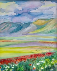 Original hand-painted silk poppy field landscape painting June | Etsy Painted Silk, Hand Painted, English Castles, Sky Mountain, Most Beautiful Cities, Silk Painting, Great Artists, Landscape Paintings, Color Change