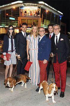I appreciate their use of Basset Hounds<3----Did someone say red pants are in?   Tommy Hilfiger LA Flagship Opening - Dee Hilfiger and Tommy Hilfiger