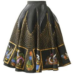 Preowned 1950s Vintage Handpainted Mexican Full Circle Skirt ($485) ❤ liked on Polyvore featuring skirts, bottoms, vintage, 1950s, black, flared skirt, vintage print skirt, print skater skirt, vintage circle skirt and print skirt