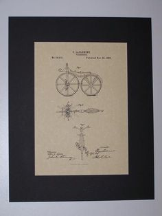 Lallement Velocipede 1866 Patent Drawing Vehicle Transportation Bicycle