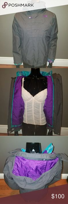 Northface Triclimate Jacket Grey and purple Triclimate Northface jacket. All in on one jacket. Removable bubble coat liner. Rain, snow, or cold weather. Outer layer can be worn as a wind breaker. Best of both worlds. NWOT. North Face Jackets & Coats Puffers