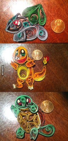 Paper quilling with pokemon as inspiration