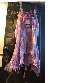 OFF Unique Art to Wear Georgette Dress ROMANTIC GIRL Twenties Tattered  Hippie Cinderella Boho Gipsy  Feminine