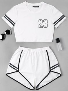 Contrast Binding Notch Shorts Two Piece Set – Mode für Frauen Girls Fashion Clothes, Teen Fashion Outfits, Swag Outfits, Outfits For Teens, Sport Outfits, Preteen Fashion, Style Clothes, Fashion Fashion, Pajama Outfits