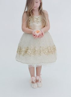 Gold Constellation Flower Girl Dress (your choice of sash color)