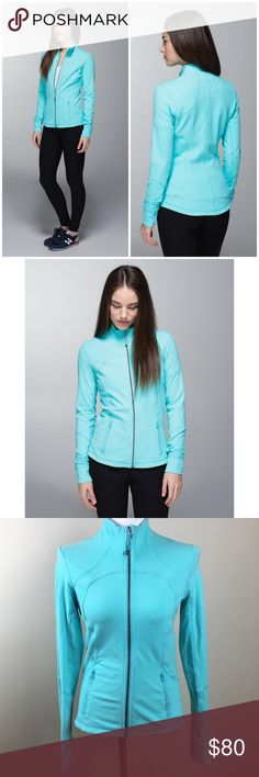 Lululemon Forme Jacket Blue Angel Cuffins W4B78S Lululemon Forme Jacket Blue Angel with Cuffins W4B78S Color: turquoise blue Condition: there is wear as shown - pulling and some paint chip on Zippers Size: 8 Length: 25in Pit to pit: 17in Arm length: 27in Material: Luon Key features * four-way stretch fabric wicks sweat away from post-practice skin * fold over the cozy Cuffins (cuff mittens - they're the best of both worlds) * dropped hem gives you more coverage in the rear * secure zipper…