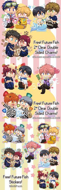 Future Fish Goodies by hissorihaka ...  Free! - Iwatobi Swim Club, haruka nanase, haru nanase, haru, haruka, free!, iwatobi, makoto tachibana, makoto, tachibana, nanase, rei ryugazaki, rei, ryugazaki, nagisa hazuki, hazuki, nagisa, sousuke, sousuke yamazaki, yamazaki, matsuoka, rin, rin matsuoka, nitori, aiichiro nitori, aiichiro, mikoshiba, momotaro, momotarou, momotarou mikoshiba, momotaro mikoshiba, kisumi shigino, shigino, kisumi, charms, stickers