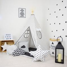 Teepee Set Kids Play Tent Tipi Playhouse Wigwam Zelt Tente- Grey Chevron by MamaPotrafi on Etsy