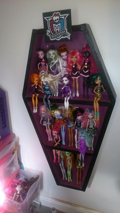 Monster High Doll Display Cabinet In The Shape Of A Coffin #Pallets, #Recycled, #Shelves