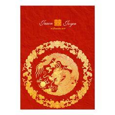 Classic dragon double happiness wedding invitation - http://www.zazzle.com/classic_dragon_double_happiness_wedding_invitation-161671767138339482