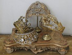 French crowns--these go on the top of antique religious statues