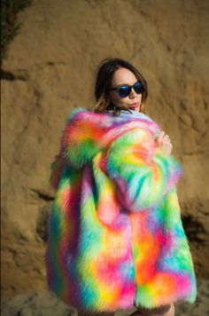 Silver Rainbow Colorful Burning Man Fake Fur Shiny Boho Coat Festival Wear…