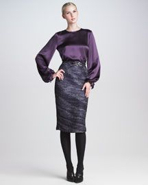 -3UEN Carolina Herrera Bow-Cuff Silk Satin Blouse & Organza Tweed Pencil Skirt