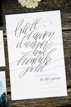 Wedding Invitations || Calligraphy || See the wedding on Style Me Pretty: http://www.StyleMePretty.com/california-weddings/2014/02/17/mankas-boathouse-wedding-with-a-bowtie-bar/ Larissa Cleveland Photography