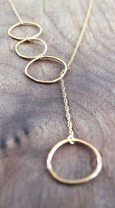 Gold Circle Necklace - Long Lariat - Cycles