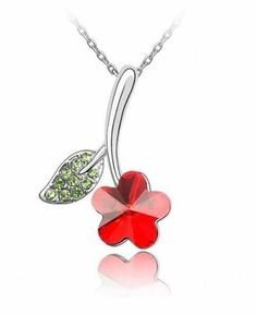 Wholesale Jewelry Flower Leaves Crystal Pendant Necklace Main Stone Crystals from Austrian Mother's Day gift Red Necklace, Crystal Necklace, Pendant Necklace, Wholesale Jewelry, Buy Wholesale, White Leaf, Austrian Crystal, Crystal Pendant, Mother Day Gifts