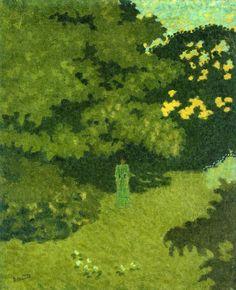 "post-impress-art: "" Woman in a Green Dress in a Garden via Pierre Bonnard Size: 45.8x37.8 cm Medium: oil on canvas"""